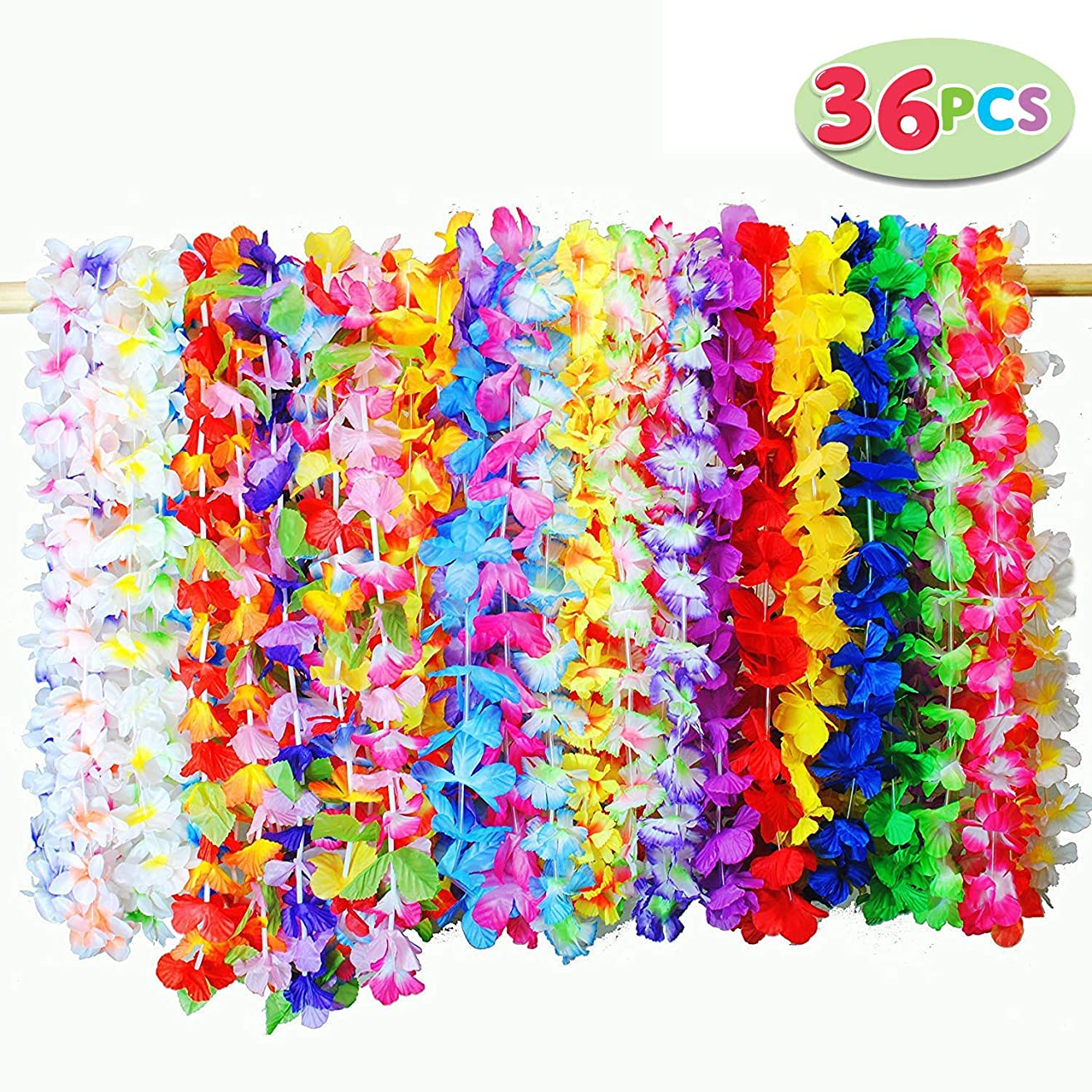 Joyin Toy 36 Counts Tropical Hawaiian Luau Flower Lei Party Favors (3 Dozen)