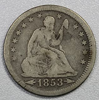 1853 P Seated Liberty Quarter wth arrows 25c Very Good