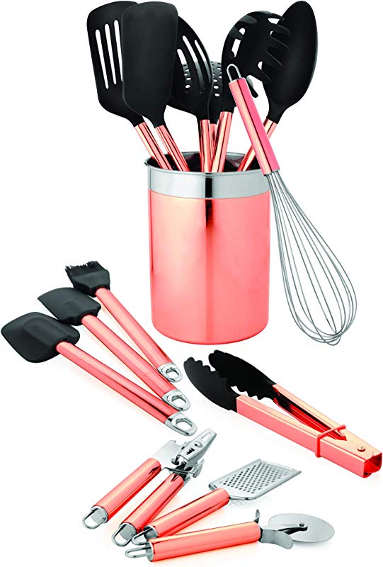 Old Dutch 1512 15 Pc Copper Set Kitchen Tools Caddy 4 75x4 75x6 125 Rose Gold Black Stainless Steel