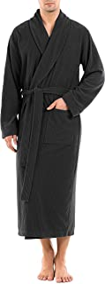 Men's Plush Robe Ultra Soft Waffle Fleece Shawl Collar Big and Tall Long Bathrobe Cozy Hotel Robe