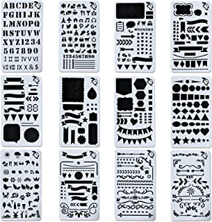 Journal Stencil Set for Bullet Planning Painting Drawing - 12 PCS Plastic Stencils for Taking Notes in Albums Notebooks Diaries Journals - Planner Stamps Set for Kids Adults Template 4x7 Inch A5