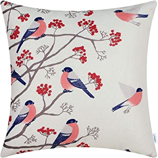 CaliTime Canvas Throw Pillow Cover Case for Couch Sofa Home Decoration Chickadees Birds with Red Floral Tree Branches 18 X 18 Inches Coral Pink Birds