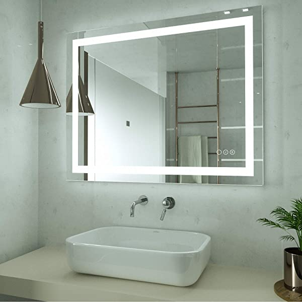 HAUSCHEN 32x40 Inch LED Lighted Bathroom Wall Mounted Mirror With High Lumen CRI 90 Adjustable Warm White Daylight Lights Anti Fog Dimmable Memory Touch Button IP44 Waterproof Vertical Horizontal