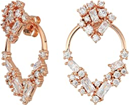 Betsey Johnson - Blue by Betsey Johnson Rose Gold Crystal Stone Cluster Front Back Earrings