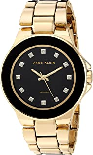 Anne Klein Womens AK/2754BKGB Diamond-Accented Gold-Tone Bracelet Watch