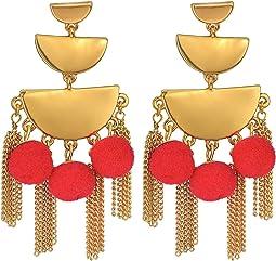 Rebecca Minkoff - Triple Tier Chandelier Earrings with Tassel and Pom Fringe