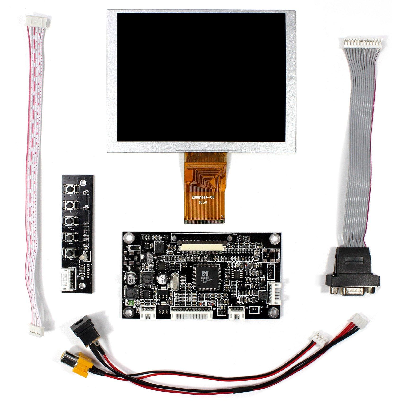 Vsdisplay VGA+AV LCD Driver Board KYV-N2 V6+5 ZJ050NA-08C 640X480 LCD Screen