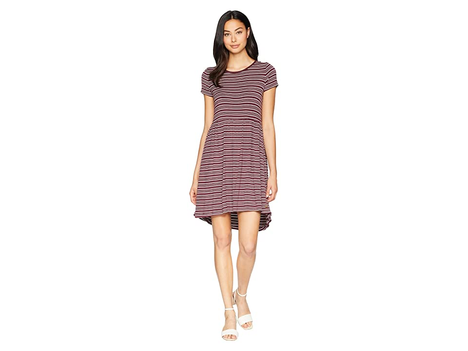 Roxy Fame For Glory Short Sleeve Dress (Tawny Port Horizontal Stripes) Women