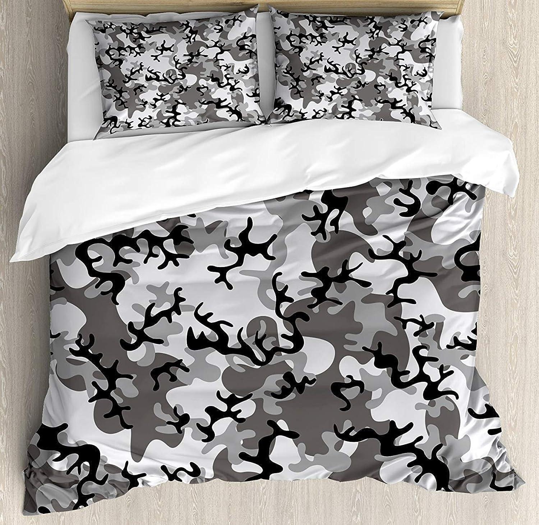 Z&L Home King Size Camo Luxury Soft Duvet Cover Set, Camouflage Concept Concealment Artifice Hiding Force Uniform Pattern Fashion, Decorative 4 Pieces Bedding Sets, Black Grey Silver