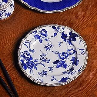 Hibiscus Flowers Ceramic Tableware Plate European Bone China Home Western Dish Afternoon Tea Double Dessert Dish Coffee Cup