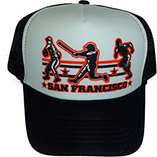San Francisco Baseball Mesh Snapback Trucker Hat Cap Black