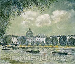 Historic Pictoric Print : Landscape Along The Seine with The Institut de France and The Pont des Arts, Alfred Sisley, c 187, Vintage Wall Decor : 44in x 38in
