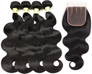 Mureen Brazilian Hair 4 Bundles with Closure Body Wave 4×4 Virgin Hair Lace Closure with Bundles Unprocessed Human Hair Extensions Weave Weft With Closure Natural Color (20 22 24 26+20, Three Part)