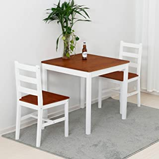 mecor 3 PC Wood Dining Set, Wood Kitchen Table Set with 2 Chairs (Natural)