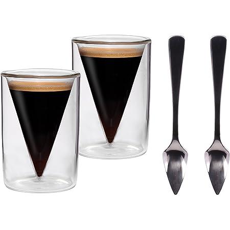 Spikey 2X 70ml doppelwandige Spitzglas-Tassen gerade mit Henkel und Untersetzer