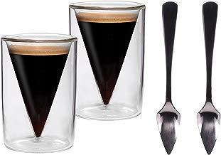2 x 70 ml de punta de juego de vasos de + 2 pcs de punta de cuchara de/2er-juego de 70 ml de doble pared para café - y vasos de chupito en la punta de protector de pantalla de cristal con diseño de flotante-efecto + 2 x