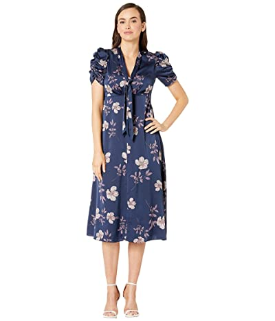 Maggy London Dogwood Floral Printed Fit and Flare Dress (Navy/Lavendar) Women