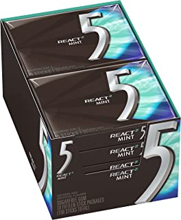 5 Gum React Mint Sugarfree Gum, 10 Packs (150 Pieces Total)