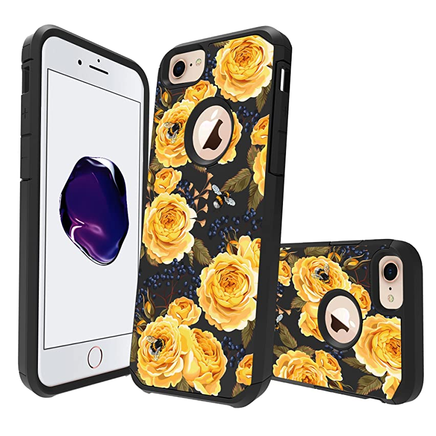 MINITURTLE Case Compatible with Apple iPhone 8 (2017) [Floral Print Series][Cute Hybrid Case for Girls][Floral Print][2-Part Silicone & Shell Case] - Bumble Bee Roses