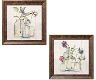 Gango Home Decor Contemporary Blossoms on Birch I & II by Cheri Blum (Ready to Hang); Two 12x12in Gold Trim Framed Prints
