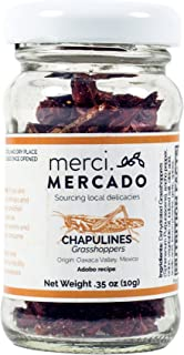 Chapulines (grasshoppers) - Gourmet edible insects from Oaxaca Mexico (small jar) (Adobo) (.35 oz)