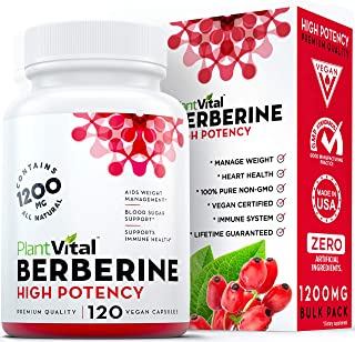New! Berberine 1200mg Supplement [HIGH Potency]. 100% Pure, Aids Weight Loss, Boosts Immune System, Blood Sugar Stabilizer, Glucose Metabolism & Cardiovascular Health. Vegan, Non-GMO. 120 Capsules