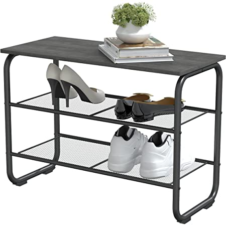 Yusong Industrial Shoe Bench Rack,3-Tier Shoe Rack with 2 Mesh Shelves,Ideal for Metal Shoe Storage Shelves & Entryway Seat,Easy Assembly Wood Look Accent Metal Frame,Gray