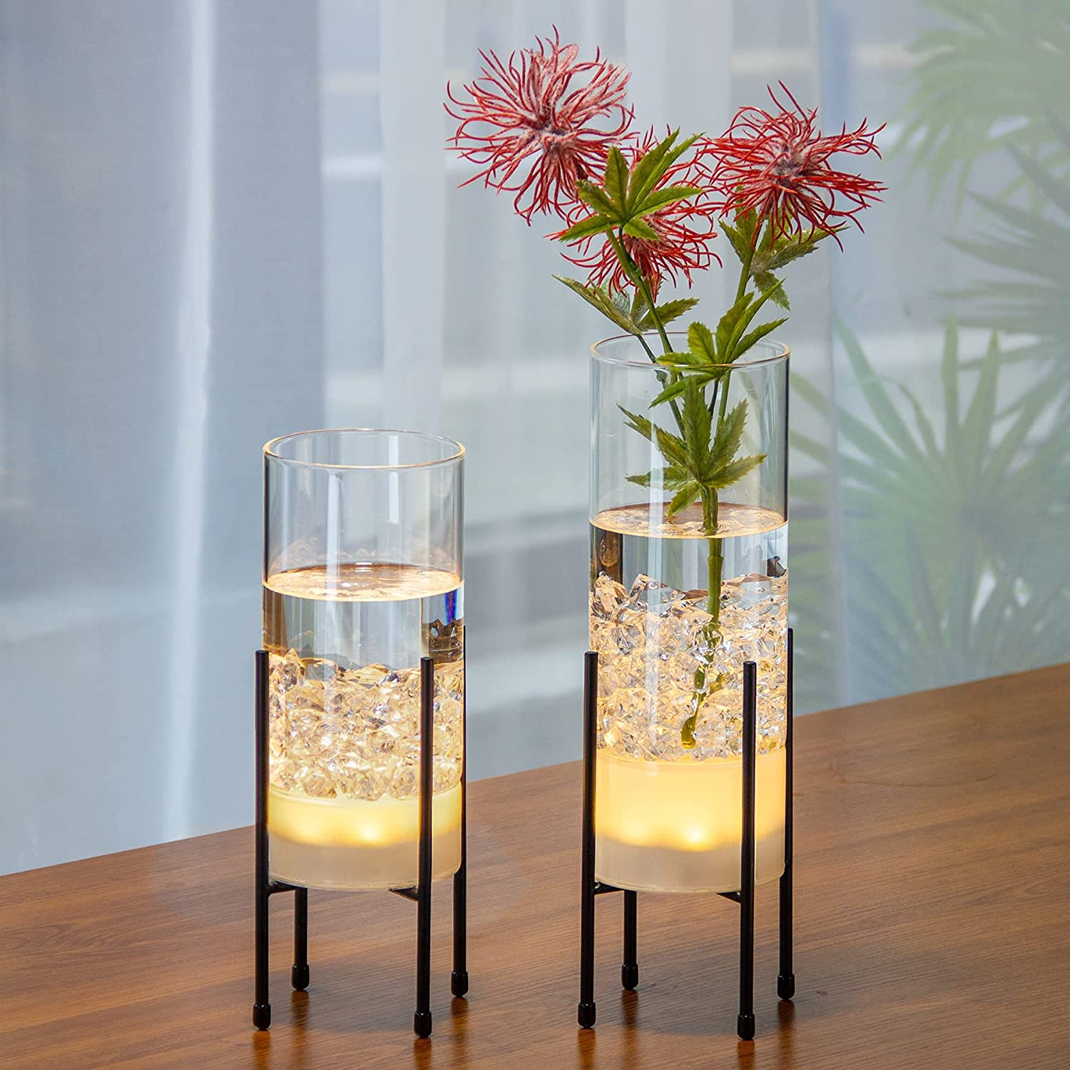 Glass Ranking integrated 1st place Vase for Decor Set V Plants Max 60% OFF Flowers Decorative