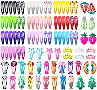 Hair Clips for Girls, 100 Pcs No Slip Metal Snap Hair Clips Barrettes for Baby Girls Toddlers Kids Teens, Cute Candy Colou...