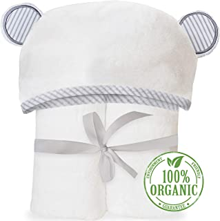 Organic Bamboo Hooded Baby Towel – Soft, Hooded Bath Towels with Ears for Babies,..