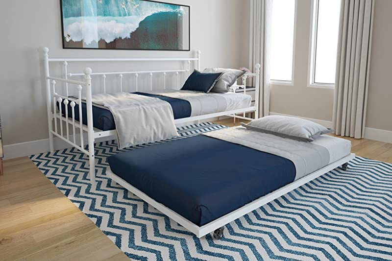DHP Manila Twin Metal Daybed Frame And Twin Size Trundle White