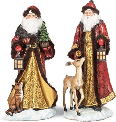 Red Goldtone Santa with Fox Deer 10 inch Resin Decorative Tabletop Figurine Set 2