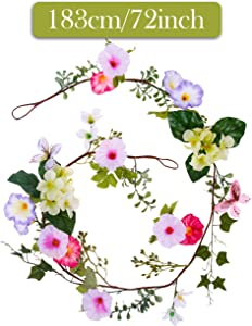 Valery Madelyn 6 Feet/72 Inch Spring Artificial Floral Garland with Morning Glory, Butterfly and Money Leaves for Front Door, Wall and Home Decoration (5 PCS)