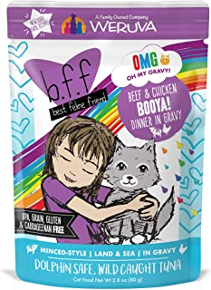 B.F.F. Omg - Best Feline Friend Oh My Gravy!, Booya! Beef & Chicken In Gravy Cat Food By Weruva, 2.8Oz Pouch (Pack Of 12)