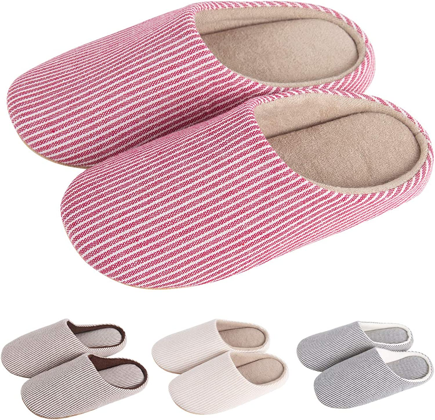 KRIMUS Slippers Womens Mens Slippers Indoor Slippers Slippers for Women Indoor Striped&Memory Foam Style