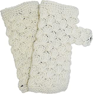 Gheri Winter Chunky Wool Diamond Pattern Fleece Lined Long Fingerless Handwarmer Mittens Gloves