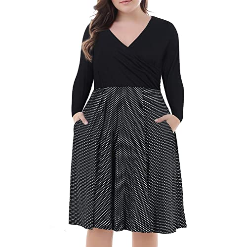 074488a017eb Nemidor Women's V-Neck Print Pattern Casual Work Stretchy Plus Size Swing  Dress with Pocket