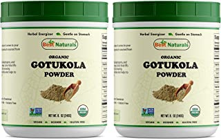 2 PK Best Naturals Certified Organic Gotu kola Powder 8.5 OZ (240 Gram), Non-GMO Project Verified & USDA Certified Organic (Total 480 Grams)