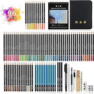 Drawing Pencils Art Supplies, Eocean Sketching Pencils Set 96 Pieces, 72 Colored Pencils, A5 Sketchbook, Double-Layer Zipp...