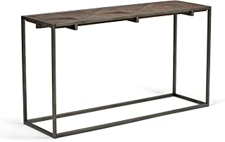 Simpli Home AXCAVY-03 Avery Solid Aged Elm Wood and Metal 54 inch Wide Modern Industrial Console Sofa Table in Distressed Java Brown Wood Inlay