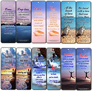 Creanoso Love Quotes Bookmarks (60-Pack) - Daily Inspirational Sayings Cards - Best Guitar Gifts Stocking Stuffers for Him, Her, Boyfriend, Girlfriend, Couple, Men or Women