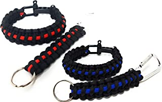 Flashfire Supply Firefighter Thin Red Line/Police Thin Blue Line Paracord Survival Bracelets + Keychain
