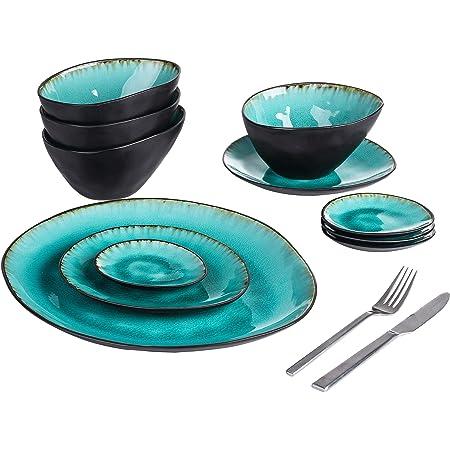 vancasso, Série AQUA, 11 Pièces Service de Table en Grès Glaçure, 2 Assiette à Dessert, 4 Bols à Soupe, 4 Assiette à Tapas, 1 Assiette de Présentation, vaiselle Handmade en Céramique - bleu