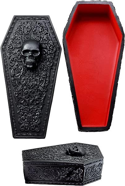 Ebros Day Of The Dead Gothic Baroque Floral Skull Coffin Jewelry Box Figurine DOD Floral Sugar Skull Decor