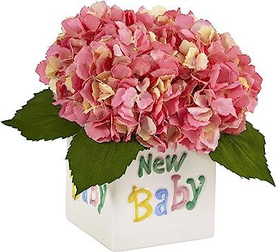 Nearly Natural 1448-PK Hydrangea in New Baby Ceramic