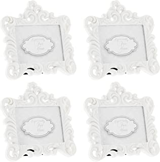 Fashioncraft Set of 4 Baroque Style White Resin Frames - Holds 2.75