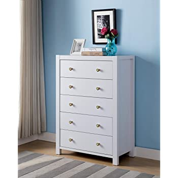 "Major-Q Id80k16017 Modern Contemporary Design 44"" H Home Bedroom Wooden Utility Storage 5 Drawer Dresser Cabinet Chest White Finish"