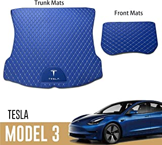 Sungmir Car Cargo Liner Trunk Mat for Tesla Model 3 Waterproof All Weather Protection Diamond PU Leather 2018 2019 2020 2021 2022