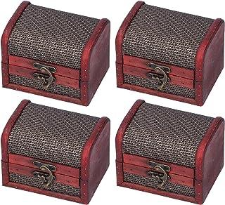 HERCHR 4pcs boîte de Rangement en Bois Vintage, Petite boîte à trésor décoratif Coffre à Bijoux Organisateur de Bijoux en ...