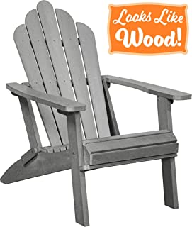 PolyTEAK Seashell Oversized Folding Poly Adirondack Chair, Stone Gray | Adult-Size, Weather Resistant, Made from Plastic